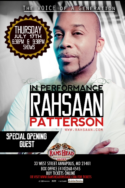 Rahsaan Patterson at Rams Head Tavern - July 17th, 2014