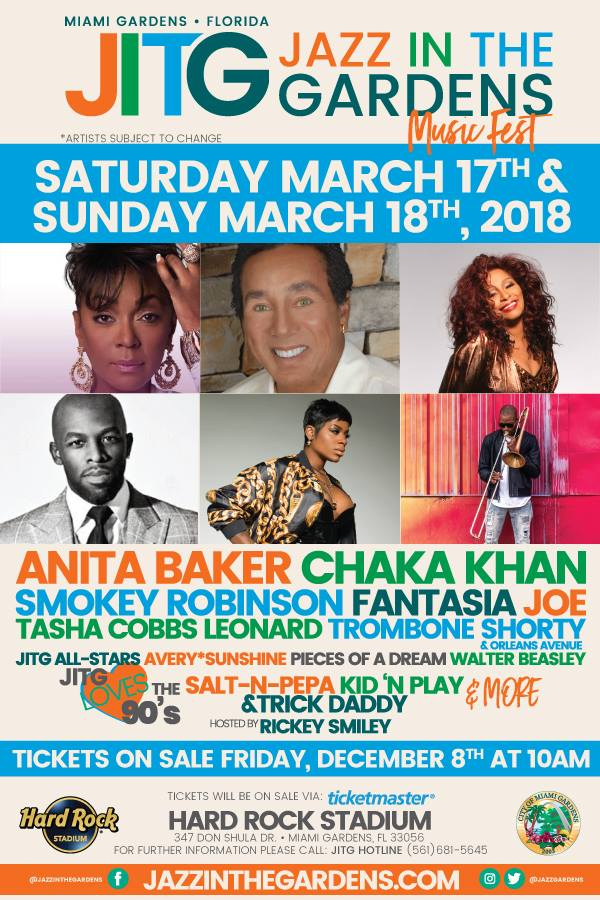The 13th Annual Jazz In The Gardens In Miami Gardens Fl March 17th 18th 2018